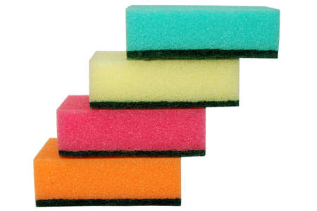 stairs from multicolor sponges. isolated on white photo