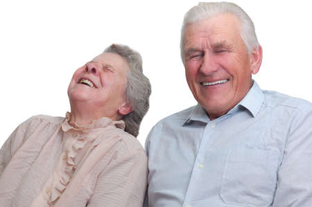 happy old couple laugh until one cries. isolated on white Stock Photo - 4239067