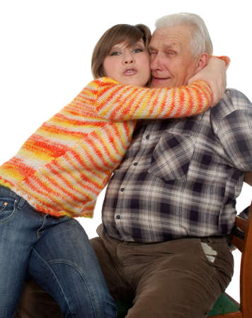 happy grandchild hugs a happy grandad Stock Photo - 4239084