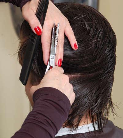 occiput: barbers hands cutting black hair. closeup Stock Photo