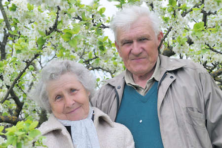 happy grandparents against a background of flowering garden photo