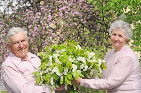 happy grandparents in flowering garden with posy photo
