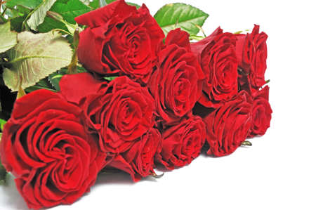 roseleaf:  nice bouquet red roses on isolated background Stock Photo