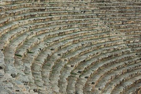antiquity: few row benchs antiquity amphitheatre  Stock Photo