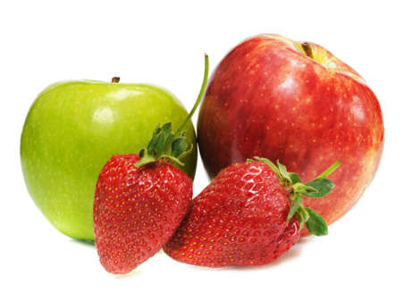 tasteful: two ripe appels with tasteful strawberry