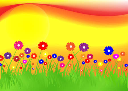 flowers on background an ascending sun Vector