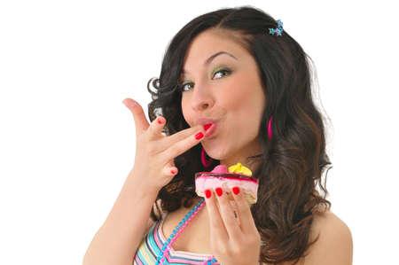 nice girl with tasty cake. isolated on white Stock Photo - 9897768