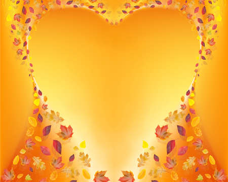 heart of fall leafs on yellow background photo