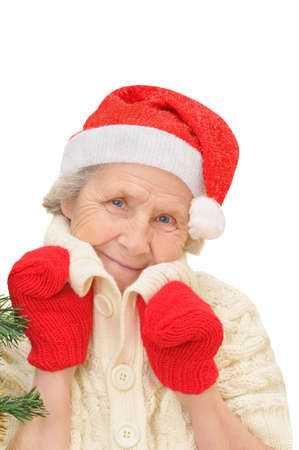 woman in red Santa Claus hat and red mittens looking at camera, isolated on white background  photo