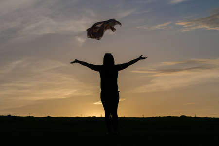 Silhouette of a woman standing in a field at sunset, sky Foto de archivo - 104166237