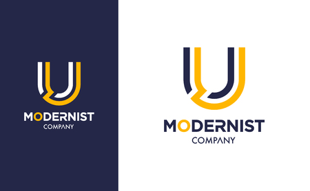 Elegant minimal Vector U Logo in two colour variations. Premium Logotype design for modern company branding. Simple and stylish identity design in blue and yellow.