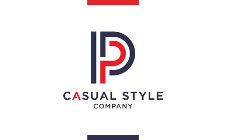 Casual and elegant Vector P Logo for corporate identities. Minimal Logotype design for premium company branding. Ilustração