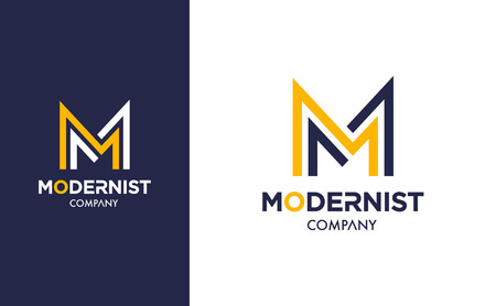 Elegant minimal Vector M Logo in two colour variations. Premium Logotype design for modern company branding. Simple and stylish identity design in blue and yellow.