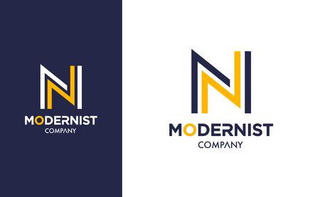 Eleganckie minimalistyczne logo Vector N w dwóch wersjach kolorystycznych. Projekt logotypu Premium dla nowoczesnego brandingu firmy. Prosty i stylowy projekt tożsamości w kolorze niebieskim i żółtym.