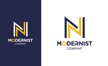Elegant minimal Vector N Logo in two colour variations. Premium Logotype design for modern company branding. Simple and stylish identity design in blue and yellow. Ilustração