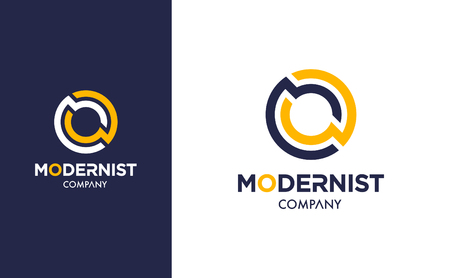 Elegant minimal Vector O Logo in two colour variations. Premium Logotype design for modern company branding. Simple and stylish identity design in blue and yellow. Ilustração