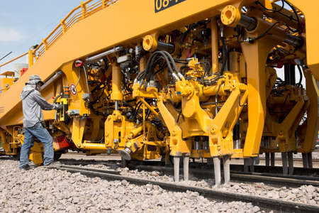 Maintenance railway on working Stock Photo