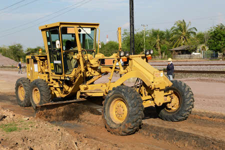 wheel loader: Grader at road construction Stock Photo