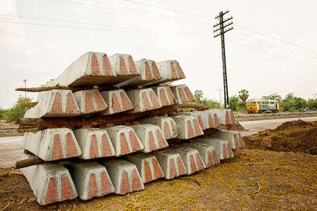 sleepers: Concrete railway sleepers piled