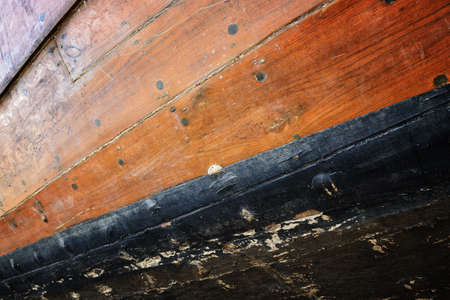 Surface of an old wooden boat photo