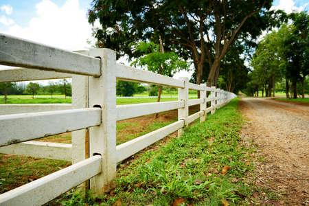 White concrete fence in farm field
