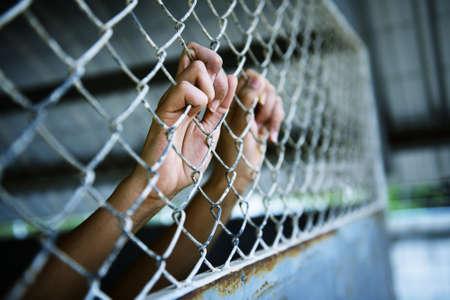 prisoner of war: Hands of the prisoner in jail (image toned)