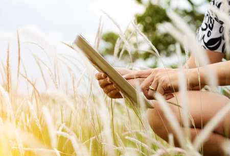 M�os usando o computador tablet no campo verde Banco de Imagens