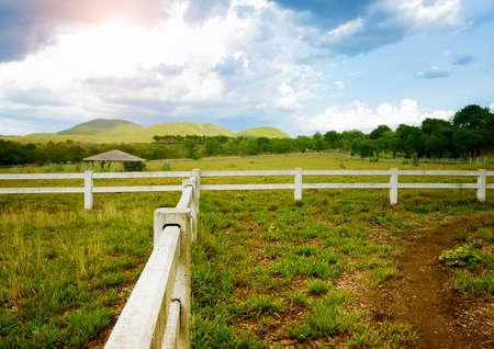 White concrete fence in horse farm field Stock Photo