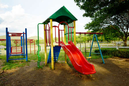 playground equipment: Children playground in the park Stock Photo