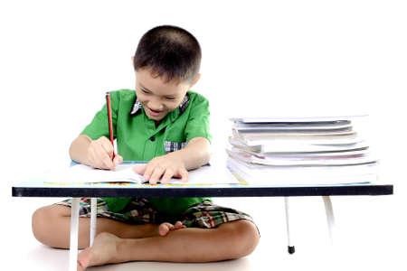 diligente: Estudiante niño goza el hacer la tarea