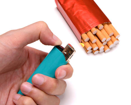 renounce: Burn cigarette for destroy (stop smoking concept)