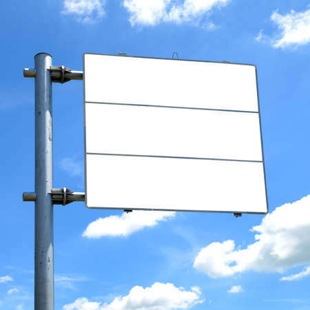 direction board: Blank road sign against blue sky background