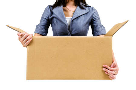 Worker carrying open cardboard box isolate on white background photo