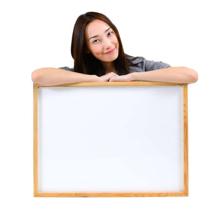 content writing: Asian woman with whiteboard ,fill text for any ideas