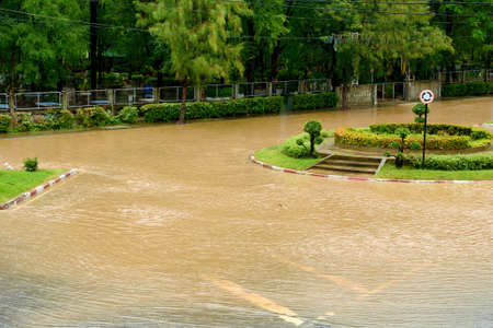 overrun: Flood on the road after heavy rain in city of Thailand