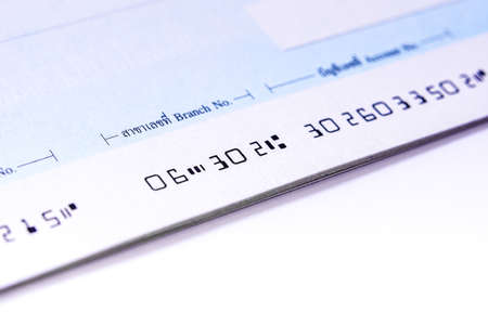 finacial: Cheque book, focus at number Stock Photo