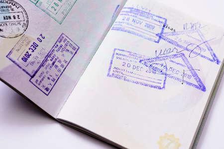 Immigration arrival stamps on passport Standard-Bild