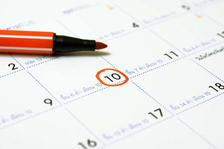 Calendar with circle marking