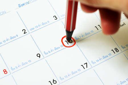 Calendar with circle marking at 10 photo
