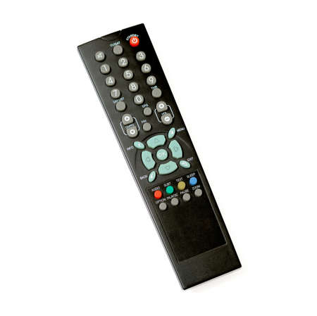 black TV remote control on white background