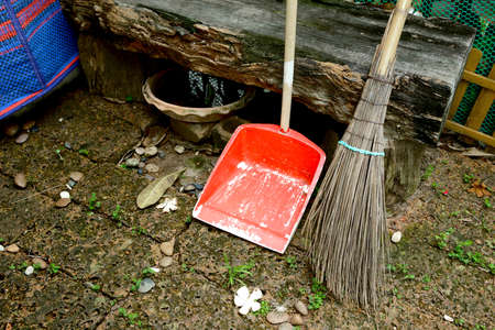 tidying up: Cleaning set - broom and dust pan Stock Photo