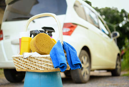 Washing car set in basket photo