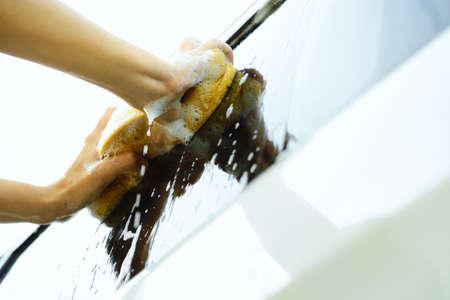Washing a car photo