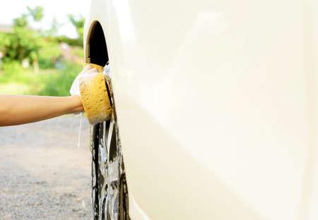 Washing a car Stock Photo