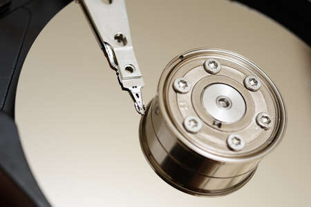 computer software: Inside view of hard disk computer
