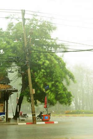 slantwise: Heavy rain in the city of Thailand Stock Photo
