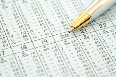 multiplication: Thailand multiplication table ,pointing at 20 Stock Photo