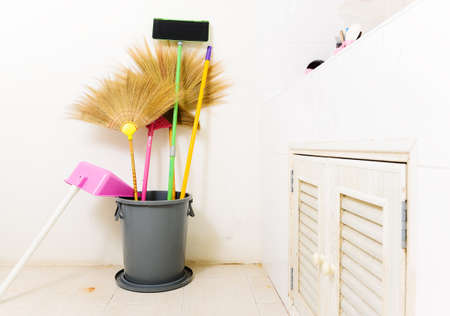 Cleaning set - broom and dust pan Stock Photo