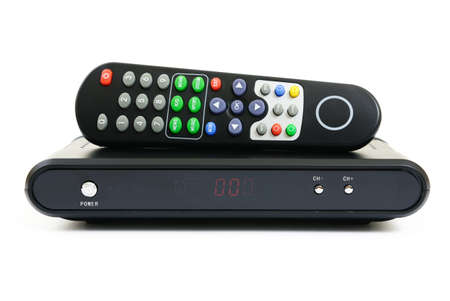 cable tv: Receiver for satellite and remote control Stock Photo