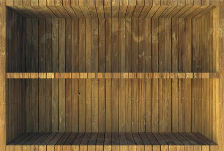 cubicle: Wooden shelves
